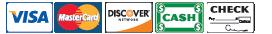 Visa, MasterCard, Discover, Cash, and Checks Accepted